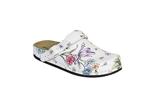 """AWC de mujer sandalias """"Natural de diseño con empeine ajustable correa y unas Soporte Cama, color blanco Blanco - blanco"""