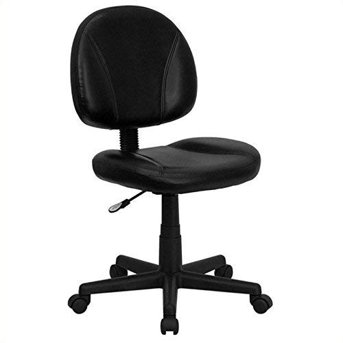 Leather Mid Back Chair - Flash Furniture Mid-Back Black Leather Ergonomic Swivel Task Chair