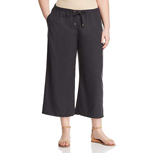 Eileen Fisher Long Silk - Eileen Fisher Womens Plus Silk Cropped Wide Leg Pants Black 2X