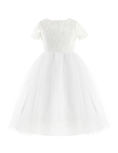 YOOJIA Kids Flower Girls Short Sleeves Lace Cutout Back Dress Bridesmaid Wedding Pageant Formal Event Ball Gown Ivory&White 10 ()