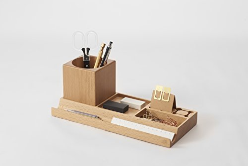 zens wooden space saving desk office supplies organizers beech wood storage expandable phone speaker pencil holder