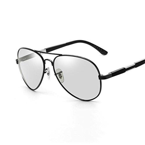 Gafas y no Gafas polarizadas Armazón Ojos Decoloración de Día de Gafas de de negro Noche Color Cambia Hombres Sol HUHUXIAOWU marco del de Sol Armazón FxtTwt