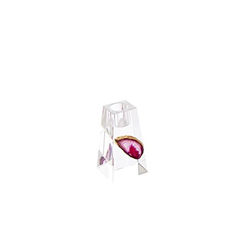 Sagebrook Home 13156-03 Crystal Candle Holder with Agate, Fuchsia