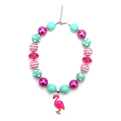 Necklace Design For Girls (Chinaboy Chunky Bubblegum Necklace Flamingo Fashion Beads Set with Gift for Baby Girls)