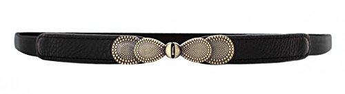 Black Women Metal Vintage Skinny Leather Belt Elastic Bow Waist Belt Solid Color