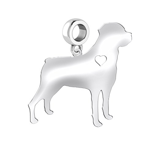 Rottweiler Dog Charm | Rottweiler Silhouette Charm | Fits All European Style Bracelets | Sterling Silver (Jewelry Rottweiler)