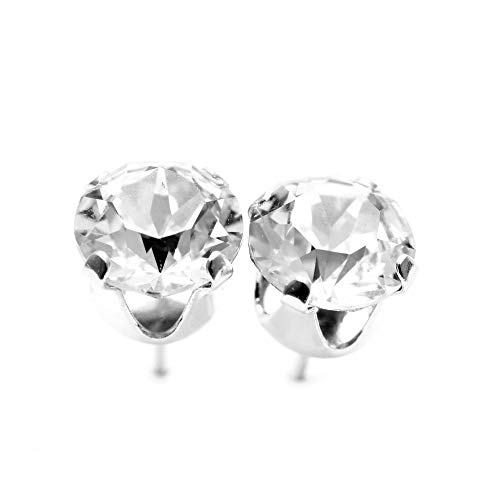 pewterhooter 925 Sterling Silver stud earrings for women made with sparkling Diamond White crystals from Swarovski. London jewellery box. Hypoallergenic & Nickel Free Jewellery for Sensitive Ears.