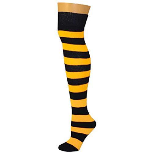 AJs Adult Knee High Striped Socks - Black/Lemon -