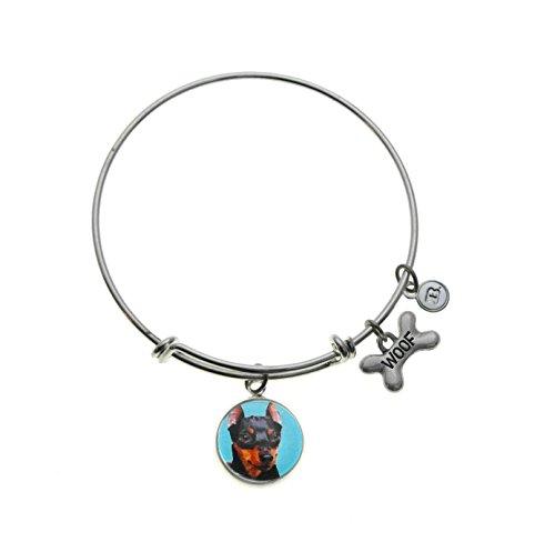 Top Dogs Miniature Pinscher Charm Silver Plated Adjustable Bangle Bracelet