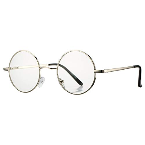 Frame Transparent Silver (COASION Retro Small Round Clear Lens Glasses Metal Frame Non-Prescription (Silver))