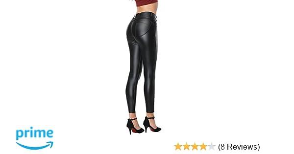 7d63762401abc RIER Women Faux Leather Pants PU Sexy Elastic Pants Butt Lift Super Slim  Leggings (Black, Small) at Amazon Women's Clothing store: