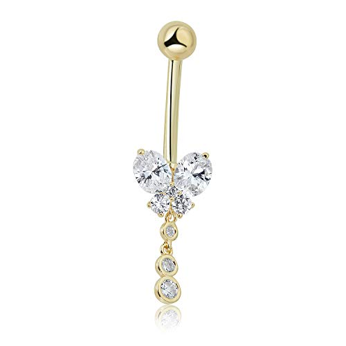 Butterfly Cubic Zirconia Belly Ring - 10K Yellow Gold 4-stone Simulated Diamond CZ Dangling Butterfly Belly Button Ring Body Jewelry - 014 Gauge