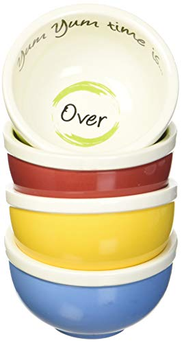 4 Ounce Portion Control - Yum Yum Dishes™ portion control bowls serve the perfect 4-ounce snack portion to help prevent unconscious snacking and overeating. Each box contains four oven, microwave, and dishwasher safe ceramic bowls in fun, vivid colors: bold blue, pistachio green, sunshine yellow, and cherry red. Yum Yum Bowls include plastic snap-on lids to keep food fresh and make snacking on the go easy.