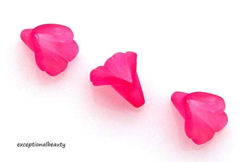 - 50 Fuchsia Pink 9mm Trumpet Lily Scalloped Tulip Frosted Lucite Flower Beads