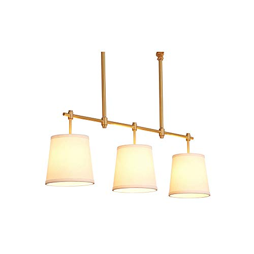 GL-63728, American 3 Light Pendant Lamp Fabric Shade, Antique Linear Chandeliers Brass Lampbody, Kitchen Island Dining Table Overhead Light Gold Color ()