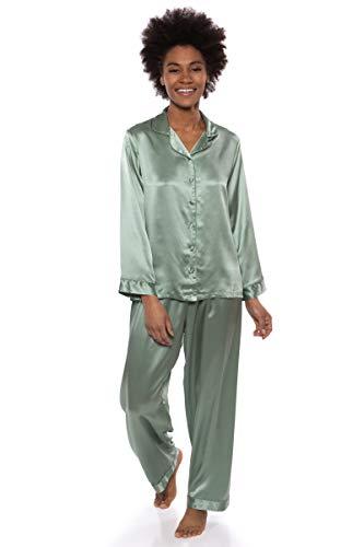TexereSilk Women's 100% Silk Pajama Set - Luxury Sleepwear Pjs (Morning Dew, Lily Green, Medium) Romantic Gifts for Birthday Anniversary WS0001-LGN-M (Faille Silk)