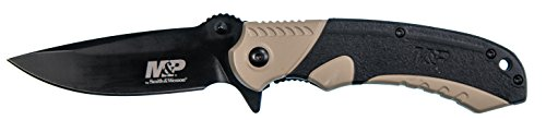 (Smith & Wesson M&P M2.0 8.07in S.S Ultra-Glide Folding Knife w/3.5in Drop Point Blade and Aluminum/Nylon FDE Handle for Outdoor, Tactical, Survival and EDC)