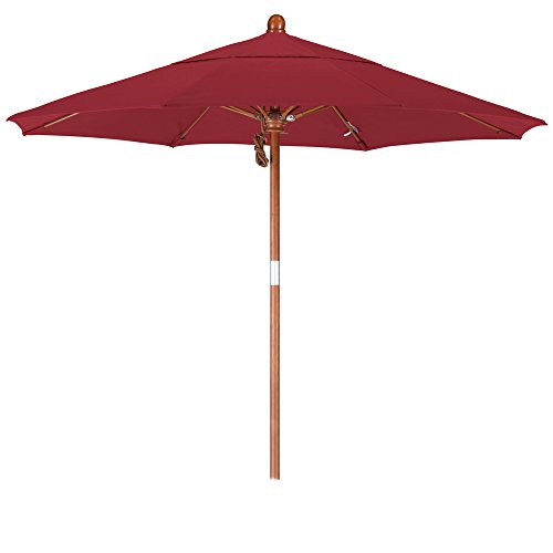 California Umbrella WOFA758-5403 7-1/2-Feet Sunbrella Fabric Pulley Open Wood Market Umbrella, Jockey Red
