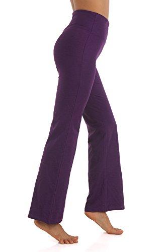 ZEROGSC Women's Yoga Pants - Workout Running Tummy Control Stretch Power Flex Boots Cut Leggings (YPW116-DeepPurple-Large)