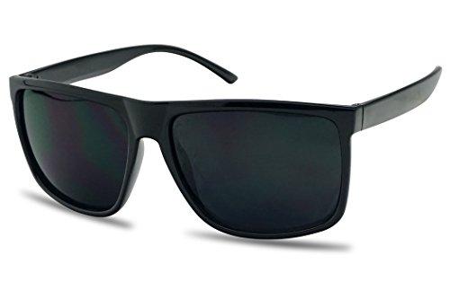 Unisex Classic Square Super Dark Black Limo Tint Lens Keyhole Frame Sunglasses (Black, Black) -