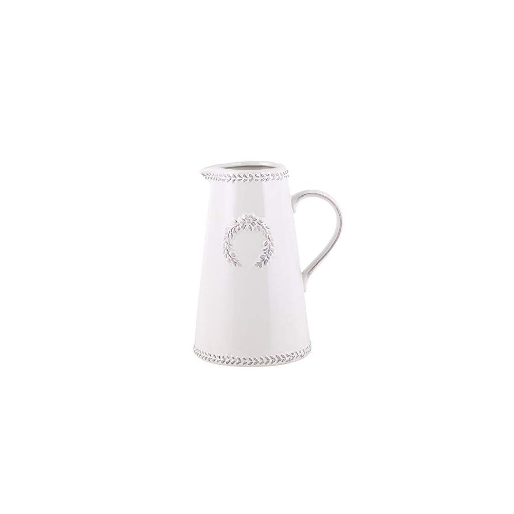 Elegant White Ceramic Vase Home Decor Table Centerpieces Vase with Handle