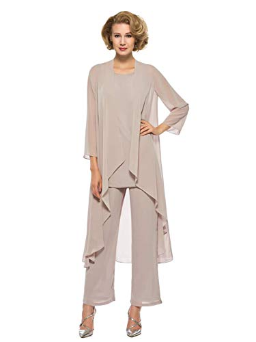 Annxrose Women's Loose 3 Pieces 3/4 Sleeve Chiffon Mother of The Bride Pantsuits Jumpsuits Rompers Size 18 -