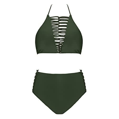 706f4c268d3 delicate CoolEnding Womens Front Deep V Neck Cut Out High Waisted Criss  Cross Swimsuits(FBA)