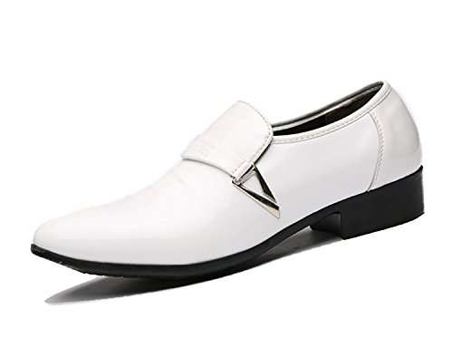 ZZHAP Men's Pointed-Toe Tuxedo Dress Shoes Casual Slip-on Loafer White US 9.5