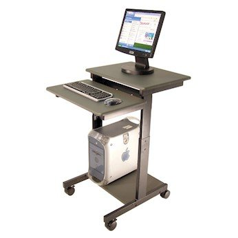 """Luxor PS3945 Mobile Adjustable Height Computer Workstation; 36"""" To 45"""" High"""