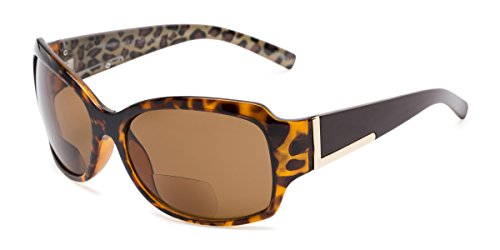 Readers.com | The Cleo Bifocal Reading Sunglasses +1.75 Tortoise/Brown Leopard with Amber Square Men's & Women's Full Frame