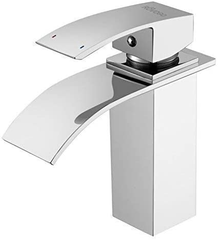 ROVOGO Bathroom Sink Faucet Waterfall, Single Handle 1 Hole Vanity Lavatory Faucet, Brass Faucet in Chrome Finish