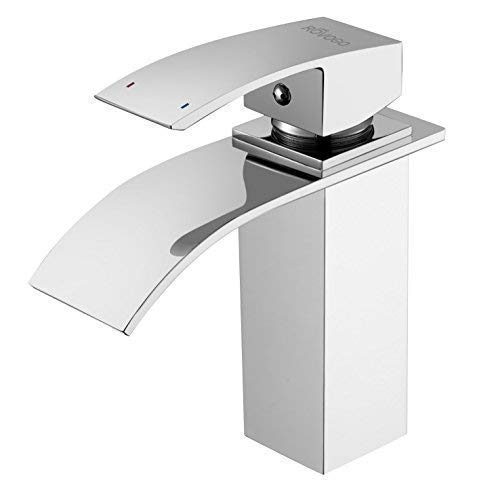ROVOGO Waterfall Bathroom Vanity Sink Faucet, Single-Handle Single-Hole Cold and Hot Water Mixer Tap with Large Rectangular Spout, Brass Lavatory Sink Faucet, Chrome
