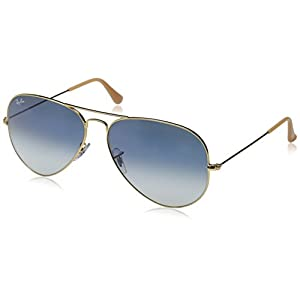 Ray-Ban 3025 Aviator Large Metal Non-Mirrored Non-Polarized Sunglasses, Gold/Light Blue Gradient (001/3F), 62mm