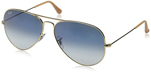 Ray-Ban 3025 Aviator Large Metal Non-Mirrored Non-Polarized Sunglasses, Gold/Light Blue Gradient (001/3F), - Gold Ban Ray Blue Gradient