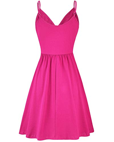 STYLEWORD Women's V Neck Floral Spaghetti Strap Summer Casual Swing Dress with Pocket