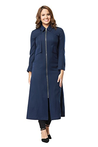 Women Modest Zipper Up Slim fit Long Sleeve Maxi Muslim Abaya Trench Coat Jacket Dress Overcoat (XXL, Navy Blue)