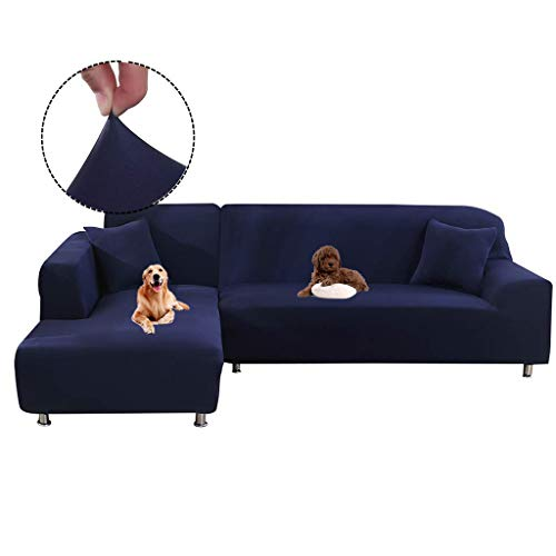 Polyester Sectional Chaise - Obokidly Pet L Shape Sofa Covers Sectional Sofa Cover Jacquard Polyester Spandex Fabric Stretchy Slipcovers for L-Shape Couch (Navy, L-Shape 3+2 Seats)