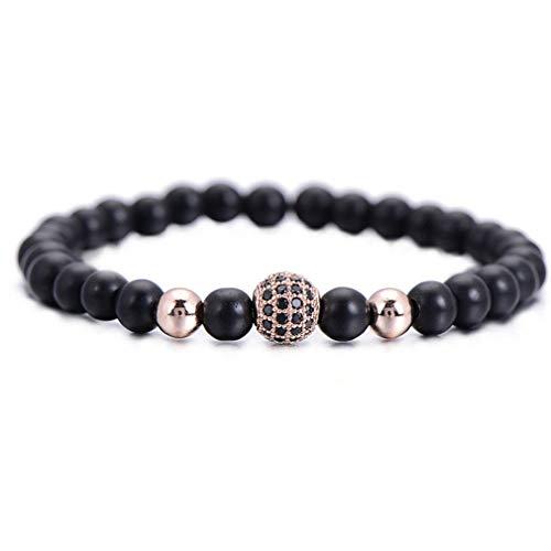 Amazon.com: Fashion Black Ball Men Bracelet Natural Stone ...