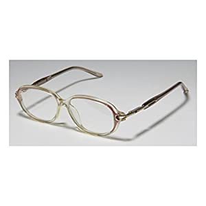 D&A Ie149 Mina Womens/Ladies Designer Full-rim Flexible Hinges Eyeglasses/Eyeglass Frame (47-12-127, Transparent Yellow / Gold / Multicolor)