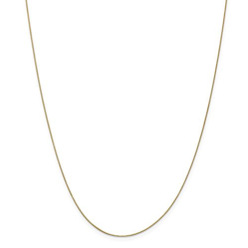 14k Gold Solid Box Chain Necklace with Spring Ring (0.4mm) - Yellow-Gold, 24 in