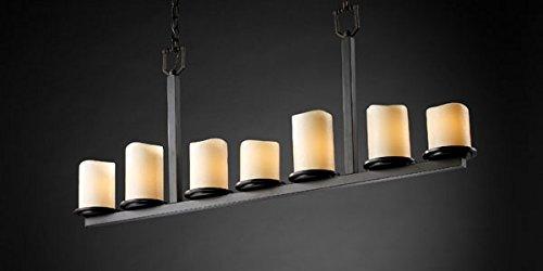 - Justice Design CNDL-8779-14-CREM-DBRZ, CandleAria Dakota Chandelier Lighting, 7LT, 420w, Bronze