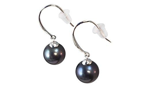 Pearl Rope Earrings (HinsonGayle AAA 8-8.5mm Black Round Freshwater Cultured Pearl Dangle Earrings, Sterling)