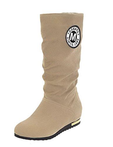 AgooLar Women's Solid Xi Shi Velvet Low-Heels Round-Toe Pull-On Boots Beige rF9alP