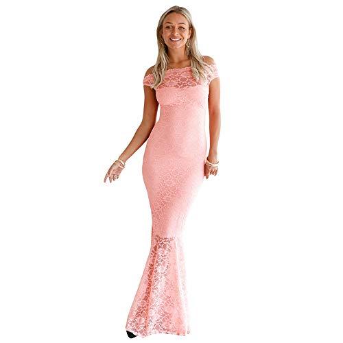 906b2babf12b Damigella Sera Floreale Donna Da In Di Pizzo Lungo Vestito Maxi Rosa Raso  Peng Colore D onore Solido Sounded Cocktail Abiti Abito Aderente gzx4qYq