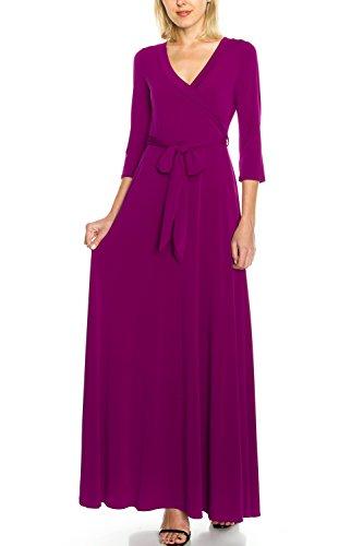 KLKD A122 Women's Solid Self-tie Surplice Maxi Faux Wrap Dress Magenta Small ()