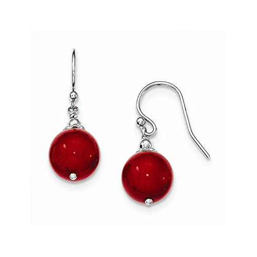 Sterling Silver & Dyed Red Coral Bead Dangle Shepherd Hook Earrings
