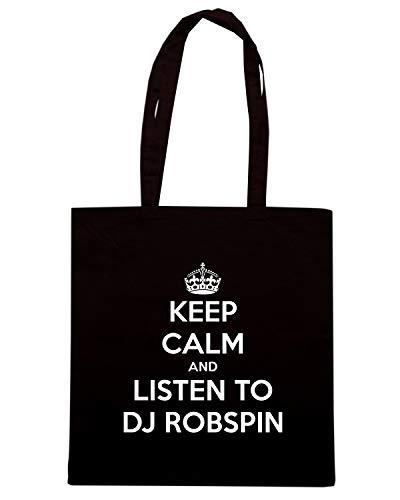 KEEP Shirt CALM TO Speed AND Shopper DJ Nera TKC1073 ROBSPIN Borsa LISTEN wXqdqHU