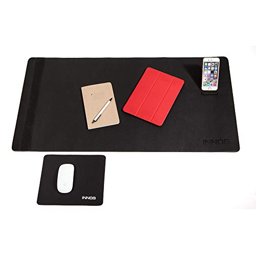 Desk Pad Mat Bundle w/Gaming Mouse Pad Large Extended Writing Blotter | Full Desk Leather Protector Cover | Long Mousepad Non-Slip Water & Heat Resistant Portable Kickstand & Photo/Paper Strap 36x18