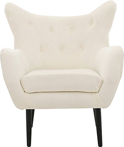 Wingback Chair In Ivory Color Perfect To Enjoy Be Comfy And Cozy Made Of  Solid Oak