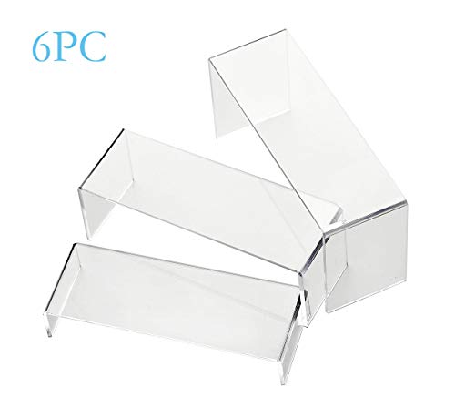 IHOMECOOKER 6 Pack Clear Acrylic Display Risers Showcase for Shoe Risers Retail Stand Cupcake Stand Dessert Stand